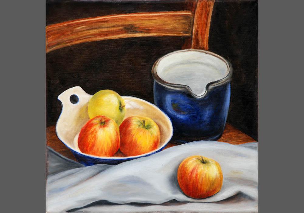 Blauer-Krug-und-Äpfel